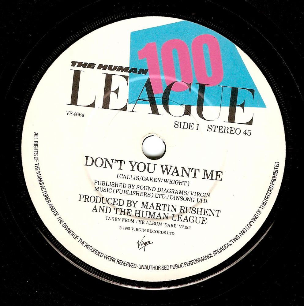 The Human League Don T You Want Me Vinyl Record 7 Inch